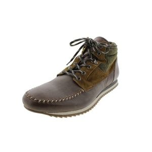 NEW-Zara Brown Leather Ankle Chukka Boots-Size 10